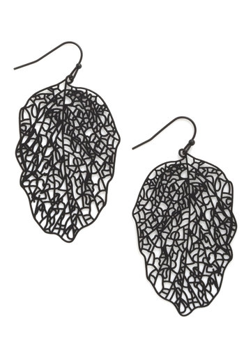 You're So Vein Earrings - Black, Solid, Cutout, Fall, Statement