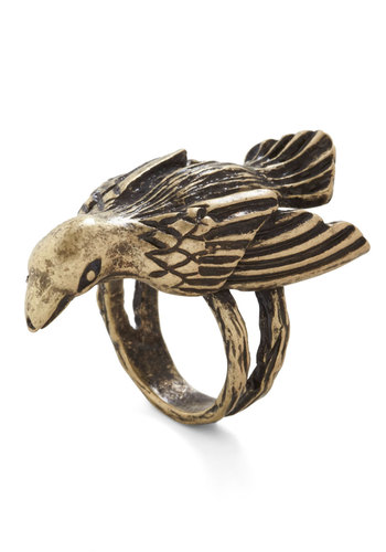 Parrot with Everything Ring - Gold, Print with Animals