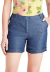 Activity Director Shorts - Blue, Solid, Buttons, Pockets, Casual, Summer, High Waist