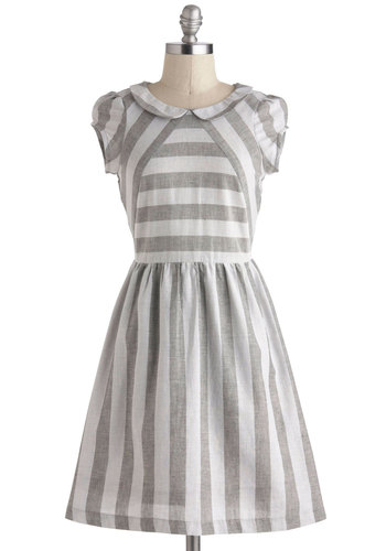 Quiet Cottage Escape Dress by Dear Creatures - Cotton, Mid-length, Grey, White, Stripes, Cutout, Peter Pan Collar, Casual, A-line, Cap Sleeves, Collared, Vintage Inspired, Spring