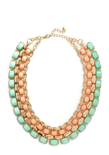 Sweet as Cotton Candy Necklace - Gold, Solid, Chain, Statement, Pastel, Coral, Mint, Party, Vintage Inspired