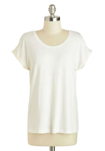 Breezy Basics Top - Mid-length, White, Solid, Casual, Short Sleeves, Scoop, Minimal, Travel, White, Short Sleeve