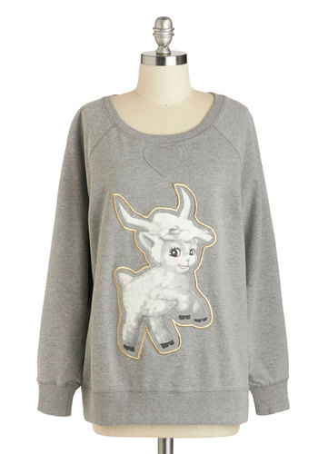 Crazy About Ewe Sweatshirt - Grey, Black, White, Bows, Casual, Long Sleeve, Mid-length, Print with Animals, Travel, Sweatshirt