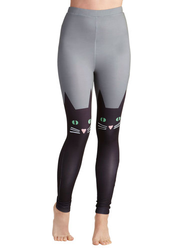 Hook, Feline, and Sinker Leggings - International Designer, Grey, Black, Print with Animals, Casual, Skinny, Urban, Quirky, Travel, Cats, Halloween