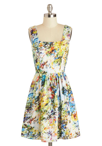 Floral Incandescence Dress - Mid-length, Casual, A-line, Tank top (2 thick straps), Multi, White, Print, Daytime Party, Summer