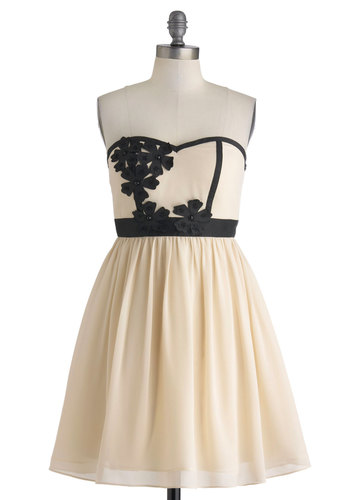 Banquet Beauty Dress - Cream, Black, Flower, Trim, Prom, Cocktail, Empire, Strapless, Sweetheart, Mid-length