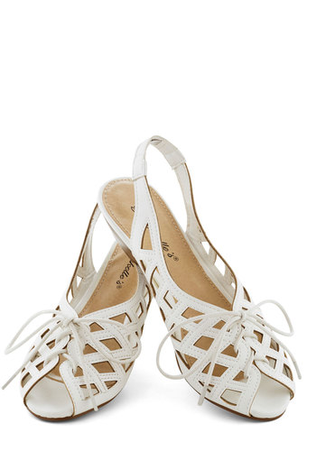 I'd Lovesome Sandal in White - White, Solid, Cutout, Low, Wedge, Peep Toe, Slingback, Summer, Variation