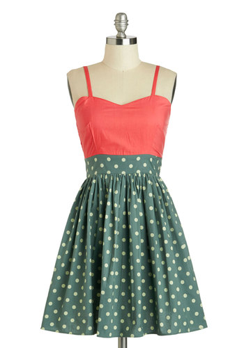 Call It a Day Dress in Pink - Mid-length, Cotton, Green, Coral, Mint, Polka Dots, Casual, A-line, Spaghetti Straps, Sweetheart, Pockets, Daytime Party, Twofer, Variation