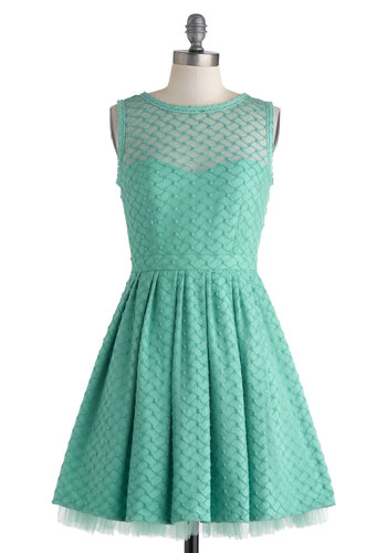 Nighttime Pool Party Dress - Mint, Solid, Pleats, Wedding, Daytime Party, Bridesmaid, Fit & Flare, Sleeveless, Crew, Spring, Mid-length