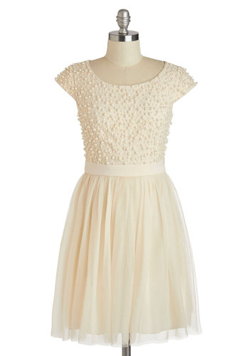 Pearl About Town Dress - Cream, Solid, Pearls, Wedding, Cocktail, Bride, A-line, Cap Sleeves, Scoop, Beads, Prom