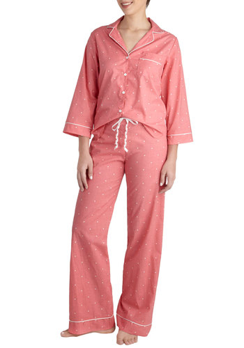 How Suite It Is Pajamas in Pink - Cotton, White, Polka Dots, Pockets, Trim, Pastel, Long Sleeve, Pink, Buttons, Menswear Inspired, Collared, Variation, Winter
