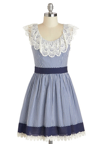 Blueberry Muffin Dress - Blue, White, Checkered / Gingham, Lace, Daytime Party, A-line, Sleeveless, Scoop, Spring, Cotton, Short, Polka Dots, Folk Art