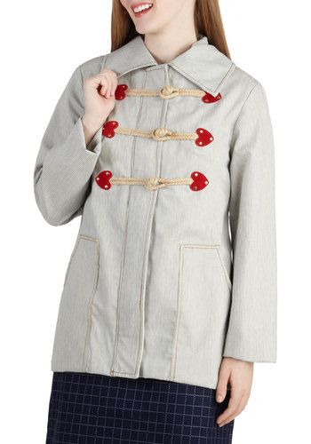 Where the Heart Lives Coat - Blue, Red, Buttons, Pockets, Long Sleeve, Cotton, 2, Stripes, Casual, Vintage Inspired, Mid-length