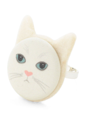 Animal Ring-stincts in Cat - Cream, Multi, Print with Animals, Kawaii, Variation, Cats