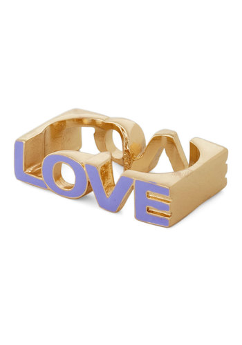 Word to Your Lover Ring - Purple, Gold, Cutout, Pastel
