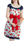 Mon Cherry Apron - Cotton, Blue, Red, Fruits, Pockets