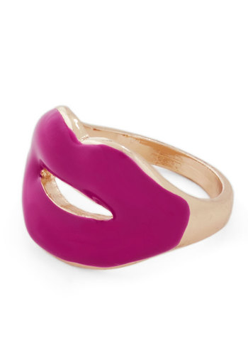 Seal It With a Kiss Ring - Pink, Gold, Solid, Cutout, Quirky