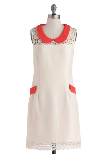 Dare You to Groove Dress - Cream, Red, Crochet, Peter Pan Collar, Pockets, Party, Sheath / Shift, Sleeveless, Collared, Spring, Mid-length