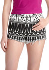 VIP Pastime Shorts by Motel - Multi, Black, White, Novelty Print, Casual, Short, Summer, High Waist, Cotton, Denim