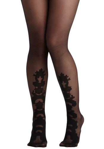 Believe It Ornate Tights - Black, Print, Sheer, International Designer, Film Noir, Winter