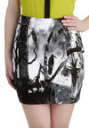 Forever and Everglades Skirt by Motel - Black, White, Print with Animals, Mini, Party, Girls Night Out, Short
