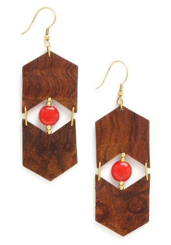 Wooden You Know It Earrings by Mata Traders - Brown, Gold, Solid, Beads, Cutout, Eco-Friendly, Red, Boho, Vintage Inspired, 70s