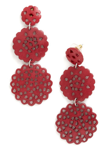 Doily Routine Earrings by Mata Traders - Red, Solid, Cutout, Tiered, Eco-Friendly, Boho, Statement