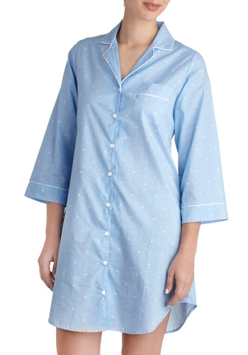 How Suite It Is Nightgown in Blue - Cotton, Blue, White, Polka Dots, Pockets, Trim, Long Sleeve, Short, Buttons, Menswear Inspired, Collared, Variation, Winter