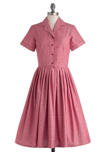 Mod of Approval Dress in Red by Myrtlewood - Long, Exclusives, Red, Buttons, Pleats, Pockets, Casual, Vintage Inspired, Fit & Flare, Short Sleeves, Collared, 50s, Private Label, Valentine's
