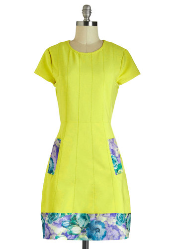 Limoncello Gorgeous Dress - Yellow, Blue, Purple, Multi, Solid, Floral, Cutout, Pockets, Party, Daytime Party, Sheath / Shift, Short Sleeves, Neon, Beach/Resort, Mid-length, Crew