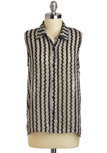 I'm Chevron It! Top - Sheer, Mid-length, Black, White, Casual, Collared, Chevron, 40s, 50s, Pinup, Summer, Grey, Sleeveless
