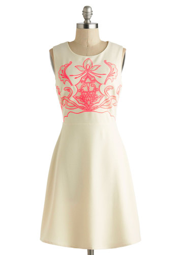 Electric Cello Solo Dress - Cream, Coral, Embroidery, Casual, A-line, Sleeveless, Mid-length, Neon, Spring, Exclusives