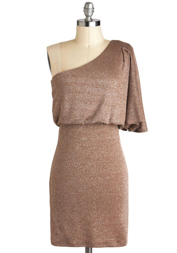 Gleam On Me Dress - Gold, Solid, Glitter, Holiday Party, One Shoulder, Short, Shift