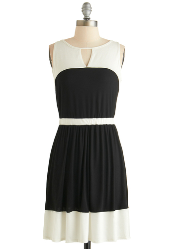 Plane and Simple Dress - Mid-length, Black, White, Cutout, Casual, A-line, Sleeveless, Scoop, Mod, Exclusives