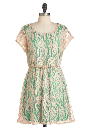 Between Me and Ecru Dress - Short, Green, Tan / Cream, Lace, A-line, Spring, Floral, Cap Sleeves, Pastel, Mint, Sheer, Summer, Graduation, Party