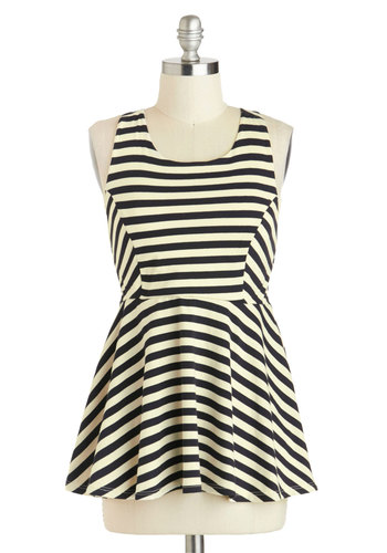 Flight Cabin Top - Multi, Black, White, Stripes, Casual, Sleeveless, Cotton, Mid-length, Summer