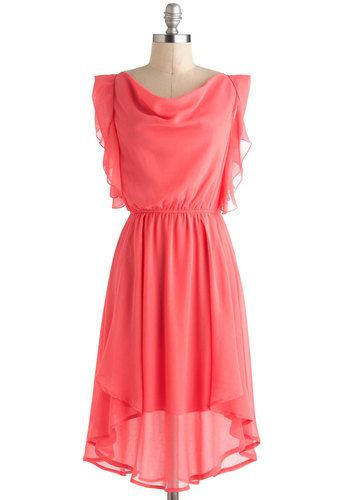 On the Bright Side Dress - Pink, Solid, Ruffles, Party, A-line, High-Low Hem, Cap Sleeves, Cowl, Long, Wedding, Vintage Inspired, Fairytale, Graduation, Bridesmaid
