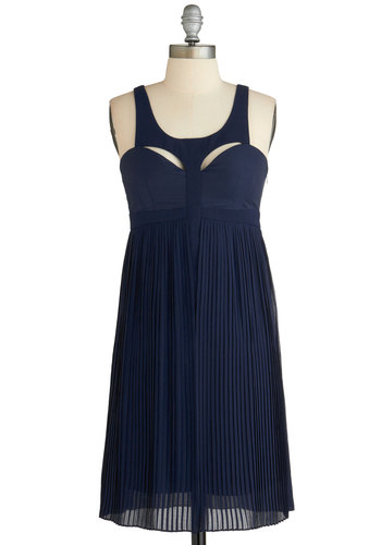 Fly by Nightingale Dress - Chiffon, Mid-length, Blue, Solid, Cutout, Pleats, Party, Empire, Sleeveless, Exclusives, Prom