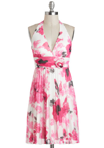 Haute Pink Bouquet Dress - Mid-length, Pink, White, Floral, Flower, Daytime Party, A-line, Halter, Spring, V Neck, Pleats, Graduation