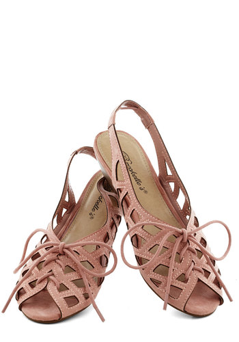 I'd Lovesome Sandal in Rose - Pink, Cutout, Low, Lace Up, Peep Toe, Slingback, Summer, Variation, Faux Leather
