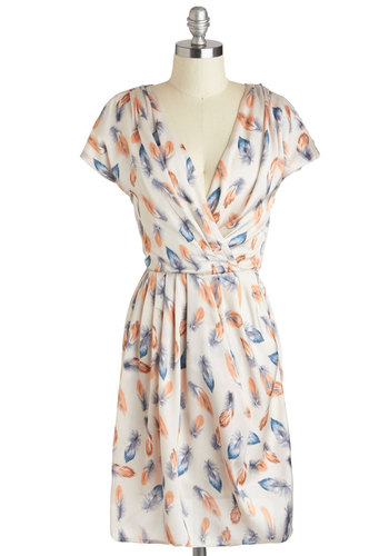 Girls of a Feather Dress - Mid-length, Cream, Orange, Blue, Print, A-line, Cap Sleeves, V Neck, Work, Daytime Party