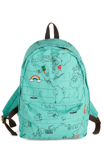 Landmarks That I Love Backpack - Mint, Multi, Print, Travel, Scholastic/Collegiate, Summer, Work, Statement