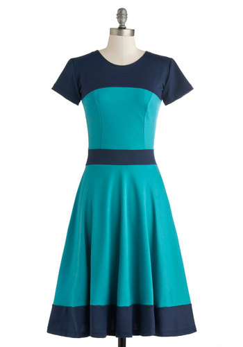 Nothing Like the Wheel Thing Dress in Teal - Long, Blue, Casual, Colorblocking, A-line, Short Sleeves, Crew, Work, Vintage Inspired, Better, Top Rated
