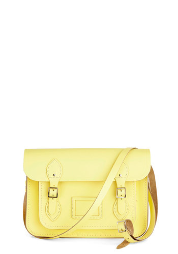 "Cambridge Satchel Upwardly Mobile Satchel in Lemon - 13"" by The Cambridge Satchel Company  - Yellow, Solid, Pastel, Scholastic/Collegiate, International Designer, Leather, Variation, Graduation, Work"