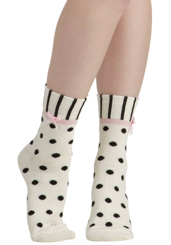 Tread Delightfully Socks - White, Pink, Black, Polka Dots, Stripes, Bows