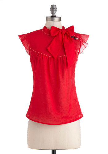 Pinpoint of View Top in Red - Red, Solid, Buttons, Work, Sleeveless, Sheer, Mid-length, Vintage Inspired, 60s, Cotton, Red, Sleeveless