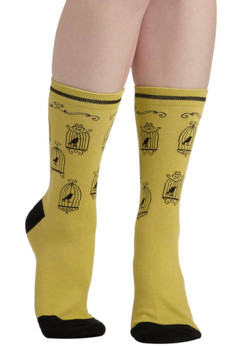Fly the Nest Socks - Yellow, Black, Print with Animals, French / Victorian