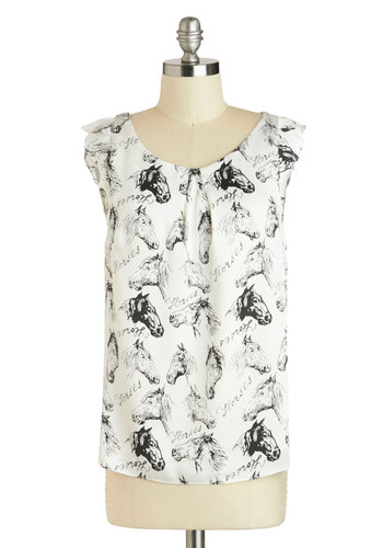 Horsing Around Town Top - Mid-length, White, Black, Print with Animals, Cap Sleeves, Novelty Print, Exposed zipper, Casual, Scoop, Summer, White, Sleeveless