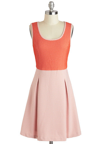 Quaint the Town Red Dress - Mid-length, Pink, Coral, Polka Dots, Pleats, Casual, A-line, Tank top (2 thick straps), Scoop, Spring