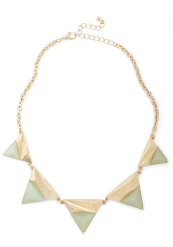 Know Every Triangle Necklace - Mint, Gold, Solid, Statement